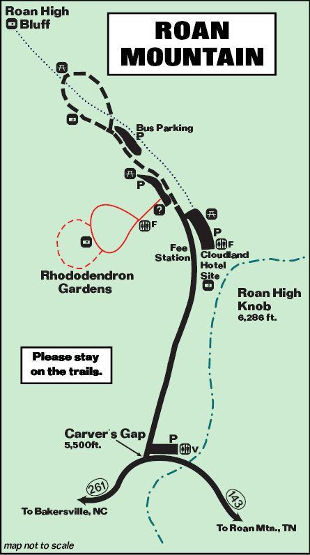 Roan Mountain Map, on the border of NC & TN--go in June for spectacular Rhododendron blooms.