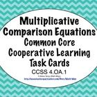 """The words """"multiplicative comparisons"""" sounds scary in the Common Core, but these task cards make practicing this skill easy! Great for cooperative learning, centers, small groups, or the whole class! $1.50: Task Cards, Student, Multiplication Equation, Small Group"""