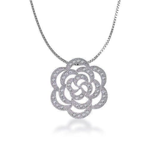 Bling Jewelry Silver Tone CZ Pave Rose Pendant Necklace 16 inches