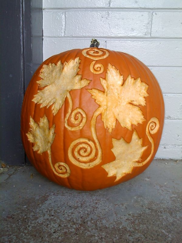 Pumpkin carving tools and design ideas leaves outdoor decorating ideas