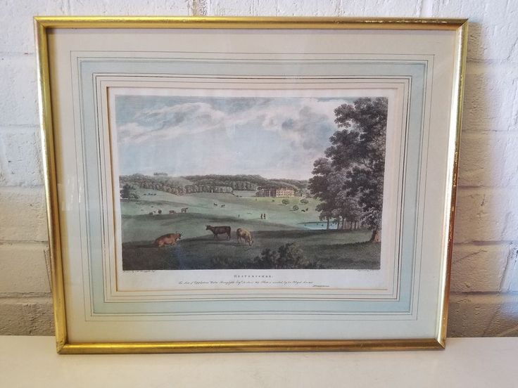 Antique Hestercombe Engraved Framed Print Drawn & Engraved by T. Bonner