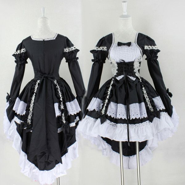 Long Sleeve French Maid Costume Dress MD005 (70 NZD) ❤ liked on Polyvore featuring costumes, dresses, french maid costume, sexy maid costume, french maid halloween costume and sexy maid halloween costume