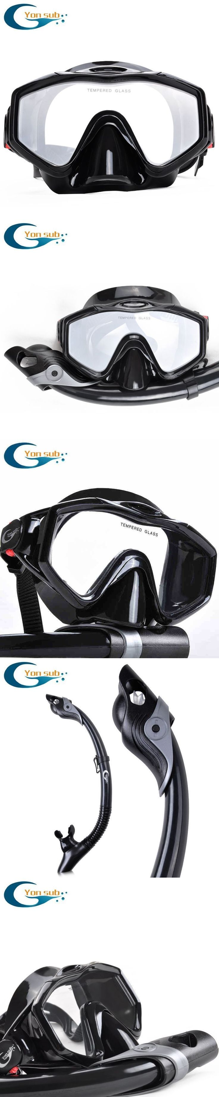 silicone tempered glass professional Scuba  Diving Equipment Diving Mask + Dry Snorkel Set black #scubadivingequipmentmasks