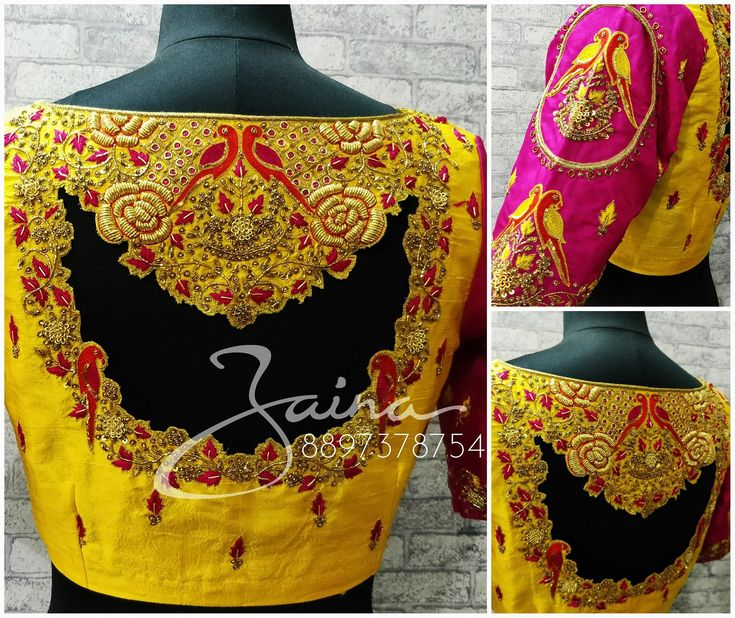 Beautiful yellow and pink color combination designer blouse with parrot and floral design hand embroidery thread work.   25 November 2017