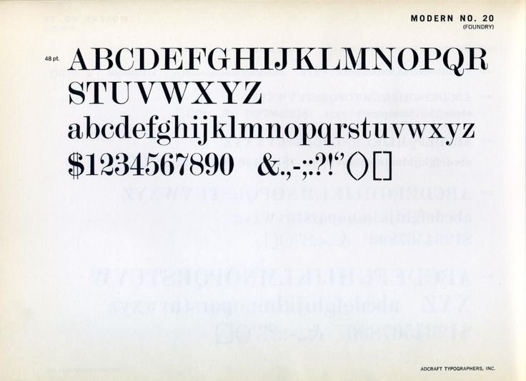 Modern No. 20 is a typeface from Stephenson Blake.