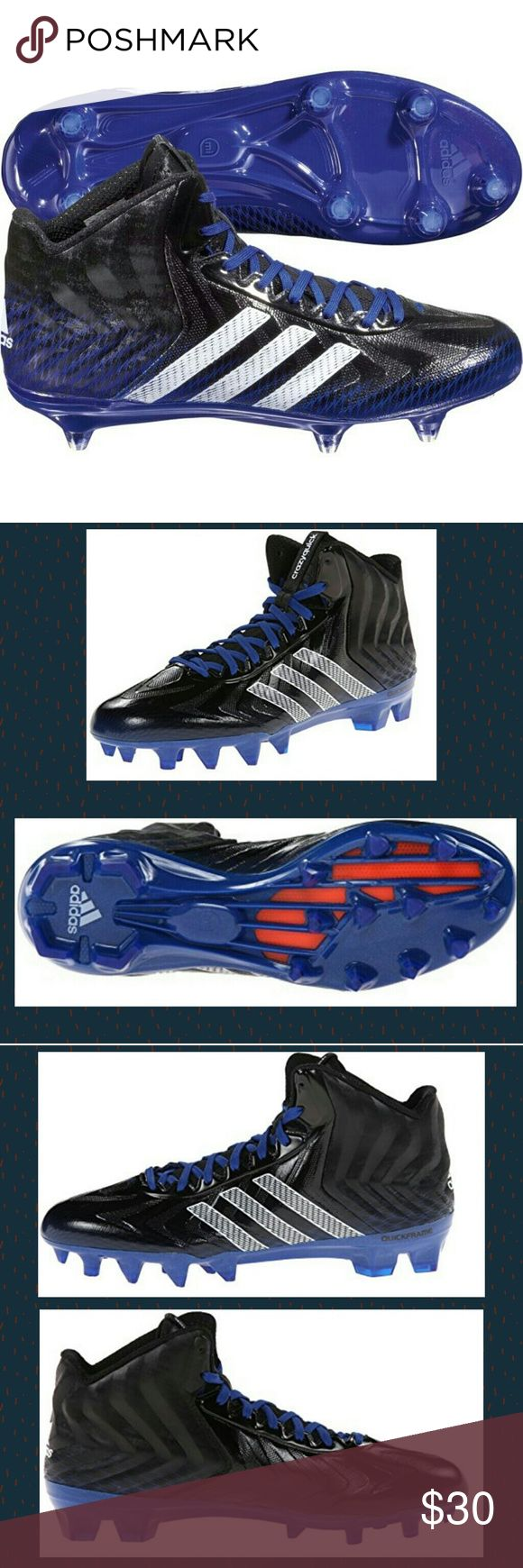 Adidas CrazyQuick Mid D Football Cleats Sz 14 BRAND NEW W/TAGS Adidas brand CrazyQuick Mid D Football Cleats- Black/White/Blue Size 14US/13.5D/13.5UK/49 1/3F/320J/305CHN.  -Techfit upper is engineered for natural, flexible support and a seamless, sock-like fit -Quickweb mesh and cambrelle synthetic upper for maximum lightweight strength -Comfortable textile lining -Anatomically molded ethylene vinyl acetate insole for perfect blend of support and comfort -Molded quickform heel padding for…