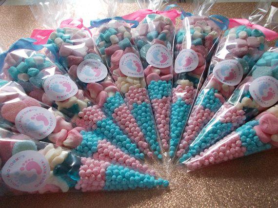 Baby Girl Vintage Sweet Cones Personalised LARGE Baby Shower Pink Cute