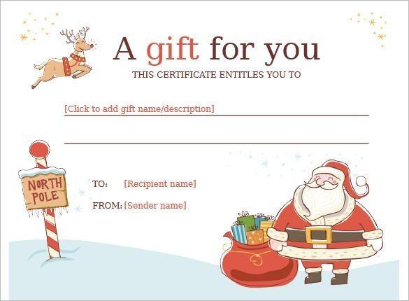 Christmas Gift Certificate Template 11 Word Pdf Docu