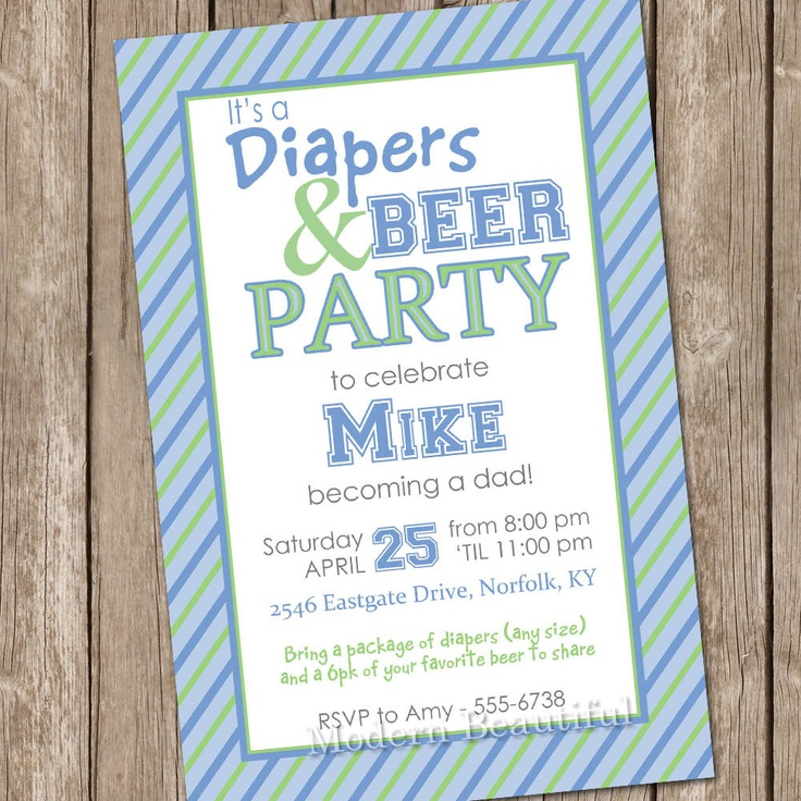 Beer and diaper baby shower invitation beer and by modernbeautiful