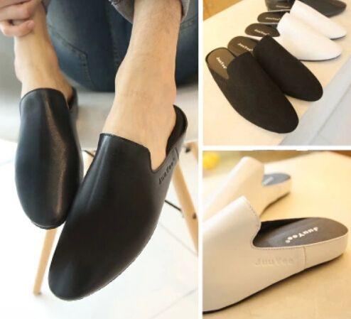 Marea di uomini pantofole fondo spesso individualità per il tempo libero mezza trascinato in pelle a punta sandali baotou pigri pistoni di estate(China (Mainland))