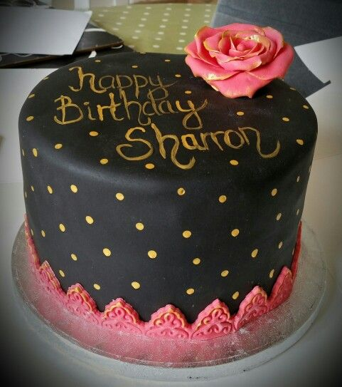 Pink gold and black birthday cake