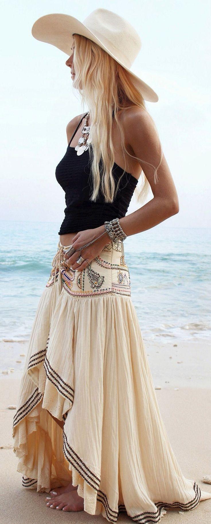 Beige Embellished Maxi Skirt