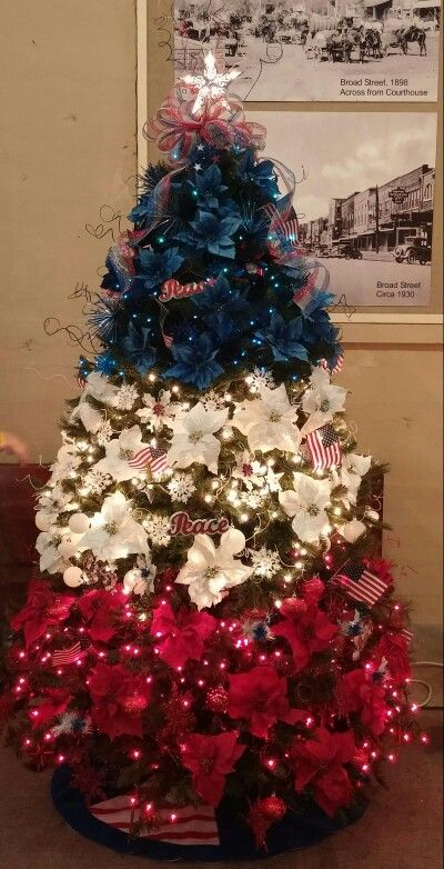 Patriotic / Americana Christmas tree -  Every year, our office displays a Christmas tree reflecting our government service as part of a community project.  Red, white, and blue always makes a pretty display, but 2015 is my favorite tree so far.