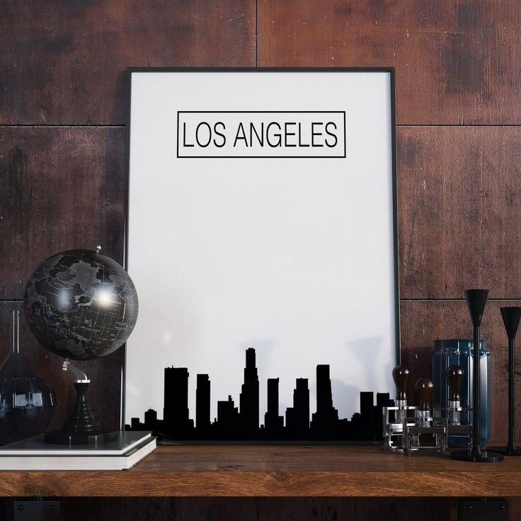 Los Angeles, Skyline, City Skyline, Poster, Wanddekor, Kunstdruck, Artprint, Druckbare Kunst, Digitaler Download, Bürodekor, Geschenk von FineArtHunter auf Etsy