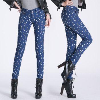 Free Shipping 2013 Winter Velvet Warm Star Skinny Button Mid Waist Elastic Cotton Women Pencil Jeans 187