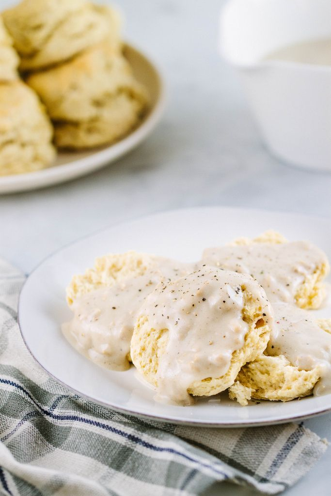 VEGAN BUTTERMILK BISCUITS + COUNTRY GRAVY- use white beans in place of oil/butter, use chickpeas in place of fake sausage, has potential
