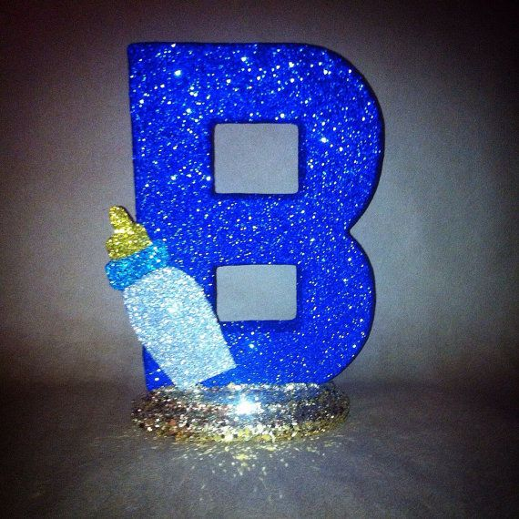 Sparkling Baby Shower letter with Baby Bottle Accent by glamtastic