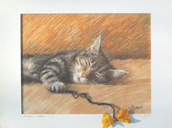 Dream 23x30cm Tabby cat with a paper ribbon Sleeping by Andrelli