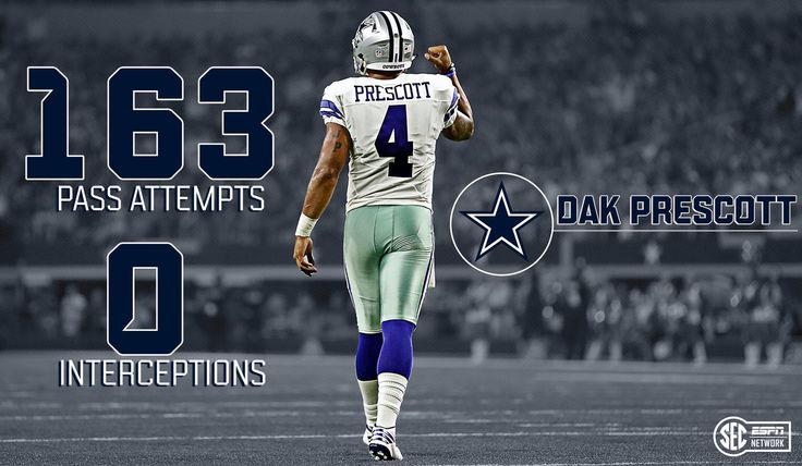 Dak makes NFL history.  Breaking Tom Brady's record for the most pass attempts without an INT.  10-16-2016