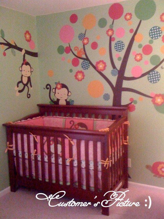 Miss Monkey Bedding Monkey Stickers for Girls by wallstaledecor