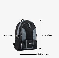 Personal item The maximum dimensions for your personal item, such as a shoulder bag, backpack, laptop bag or other small item, are 9 inches x 10 inches x 17 inches (22 cm x 25 cm x 43 cm). (United Airlines)