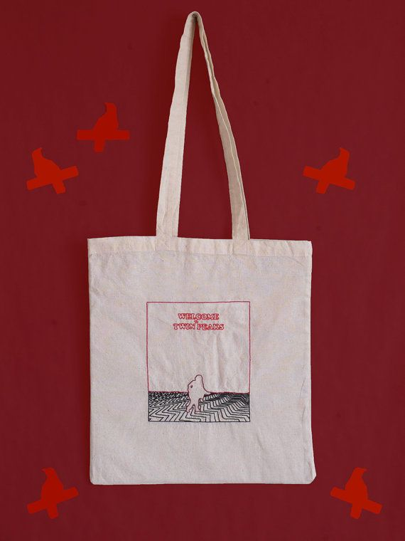 In Twin Peaks #6 : Black Lodge - The man from another place - embroidered ecru cotton tote bag - unique - Birthday gift idea, Mother's Day