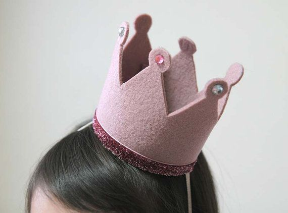 Birthday hat crown, Pink Crown, Felt Crown, Headband, Pink Glitter, Photography Prop, Swarovski Crystals