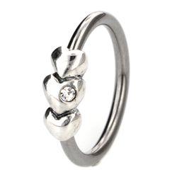 Buy at www.bodyjewelleryshop.com - Silver & Steel Ball Closure Ring - 3 Outward Hearts. #bodyjewellery #piercings #piercingjewellery