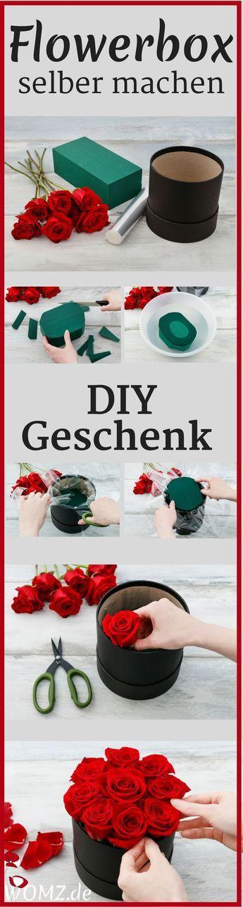 Dieses DIY Geschenk ist wirklich einmalig schön. Eine Flowerbox selber machen geht ganz einfach und schnell. Eine tolle Geschenkidee für Muttertag, Valentintstag, zum Geburtstag oder einfach so für zwischendurch. Du brauchst dafür nur eine Blumenbox, Rosen, einen Steckschwamm, Messer, Schere und Folie. Und schon kann es los gehen. Eine Anleitung für ein tolles DIY Geschenk. Mach deine Flowerbox einfach selber und schenke damit bunte Freude. #flowerbox #selbermachen #diygeschenk...