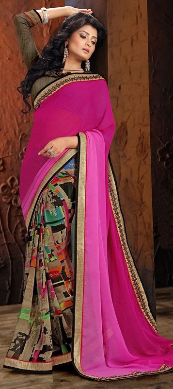 707131 Multicolor  color family Embroidered Sarees, Party Wear Sarees in Faux Georgette fabric with Lace, Machine Embroidery, Printed, Resham, Stone, Thread, Zari work   with matching unstitched blouse.