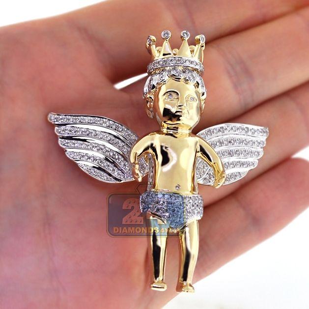 14k Yellow Gold Religious Angel Pendant