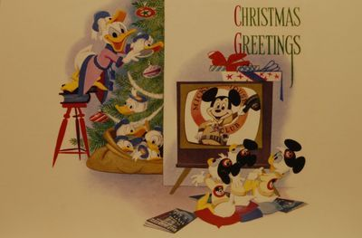 1956. look who's on TV ! Disney Stuff - Walt Disney Archives Collection-Walt Disney Company Christmas Cards (More Mouse) by Chris Barry