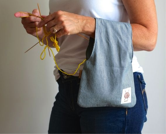 These over-the-arm project bags from OtterburnPQ come in both wristlet and larger sizes. Perfect for the on-the-go or stay-at-home knitter who wants a convenient (and stylish) way to keep their project at hand.