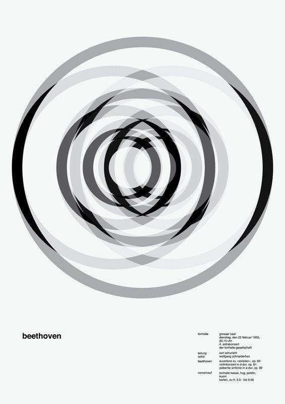 Jessica Svendsen's 100 Days project, variations of a Josef Müller-Brockmann poster for a Beethoven concert in Zürich in 1955.