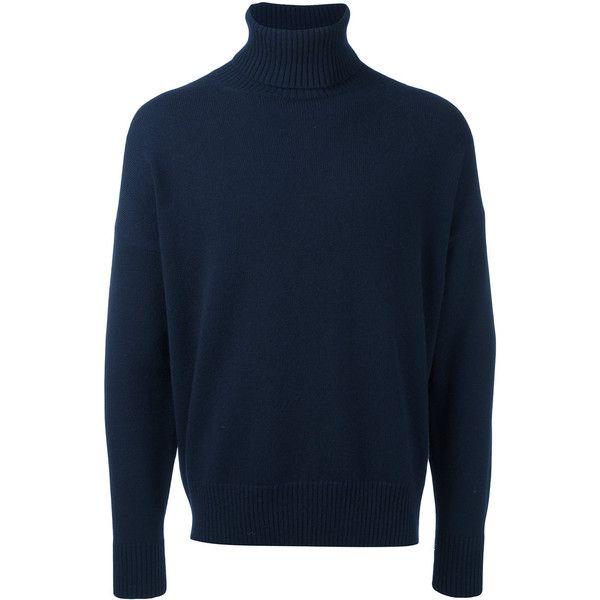 Ami Alexandre Mattiussi oversized turtleneck sweater ($237) ❤ liked on Polyvore featuring men's fashion, men's clothing, men's sweaters, blue, mens blue sweater, men's polo neck sweaters, mens turtleneck sweater and mens oversized sweaters