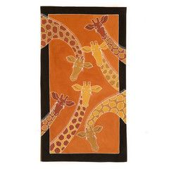 Wall Hangings ~ Animal Kingdom Designs Medium $55.00 USD USD Multi-purpose wall hanging decorated with beautiful giraffe design, painted in rich terracotta and earth tones. Hemmed all around with full-width pocket along top edge for hanging pole. Can also be used as a Tablecloth or throw.