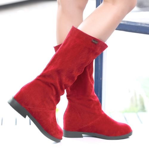 Fashion Women Mid-calf Boots Faux Suede Round Toe Concealed Wedge Heel Slouch Boots Red/Black/Brown