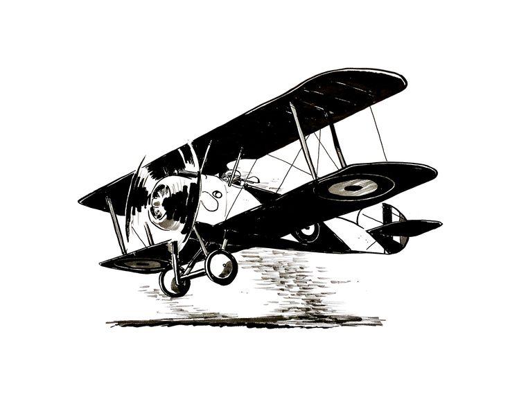Sopwith Camel by Jon Skraentskov Ink on paper 2017 #ww1 #sopwithcamel #plane #fighterplane