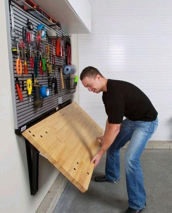 How To Build A Wall Mounted Folding Workbench Garage Makeover Garage Organization Garage Decor