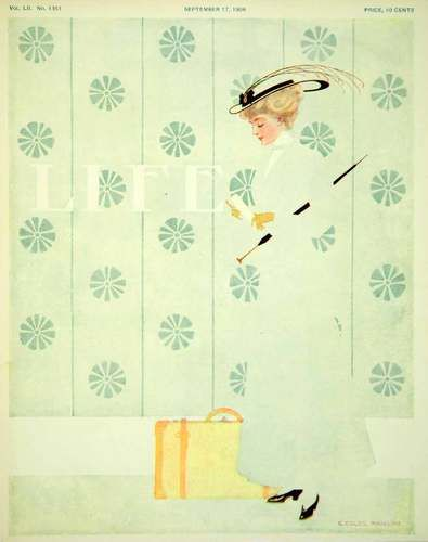 1908 Cover Life Coles Phillips Art Fadeaway Girl Suitcase Travel Clothes Fashion | eBay