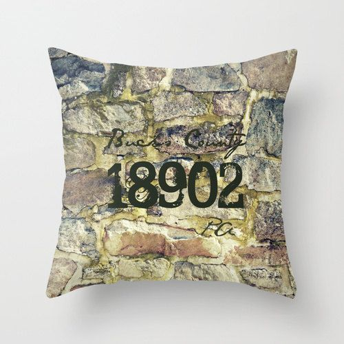 Personalized Zip Code 16x16 Pillow Cover Photo Art Tmcdesigns Rustic Fieldstone Moss Spring Farmhouse Country French Pa Barn