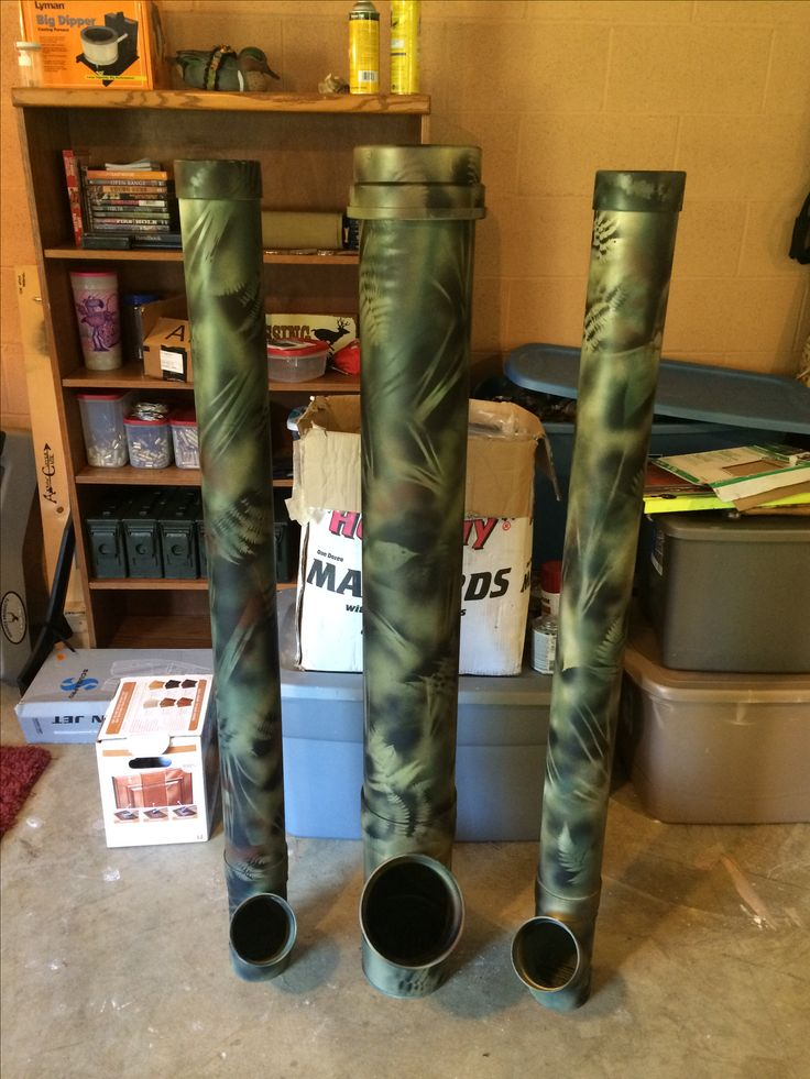 DIY deer feeder from PVC and camo spray paint.