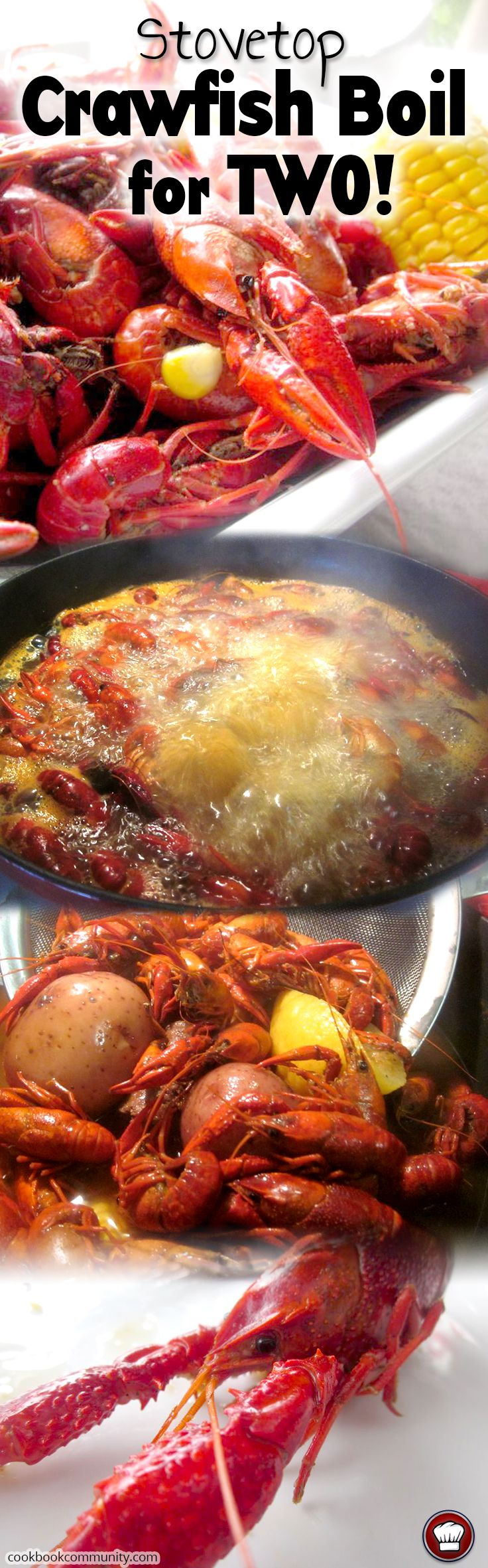 CRAWFISH BOIL RECIPE COOKED ON THE STOVE FOR TWO PEOPLE