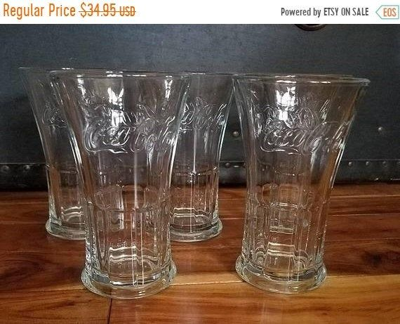 Vintage COCA COLA Glasses flat bottom LIBBEY GREEN  3 1//2 inch tall and 2 inches