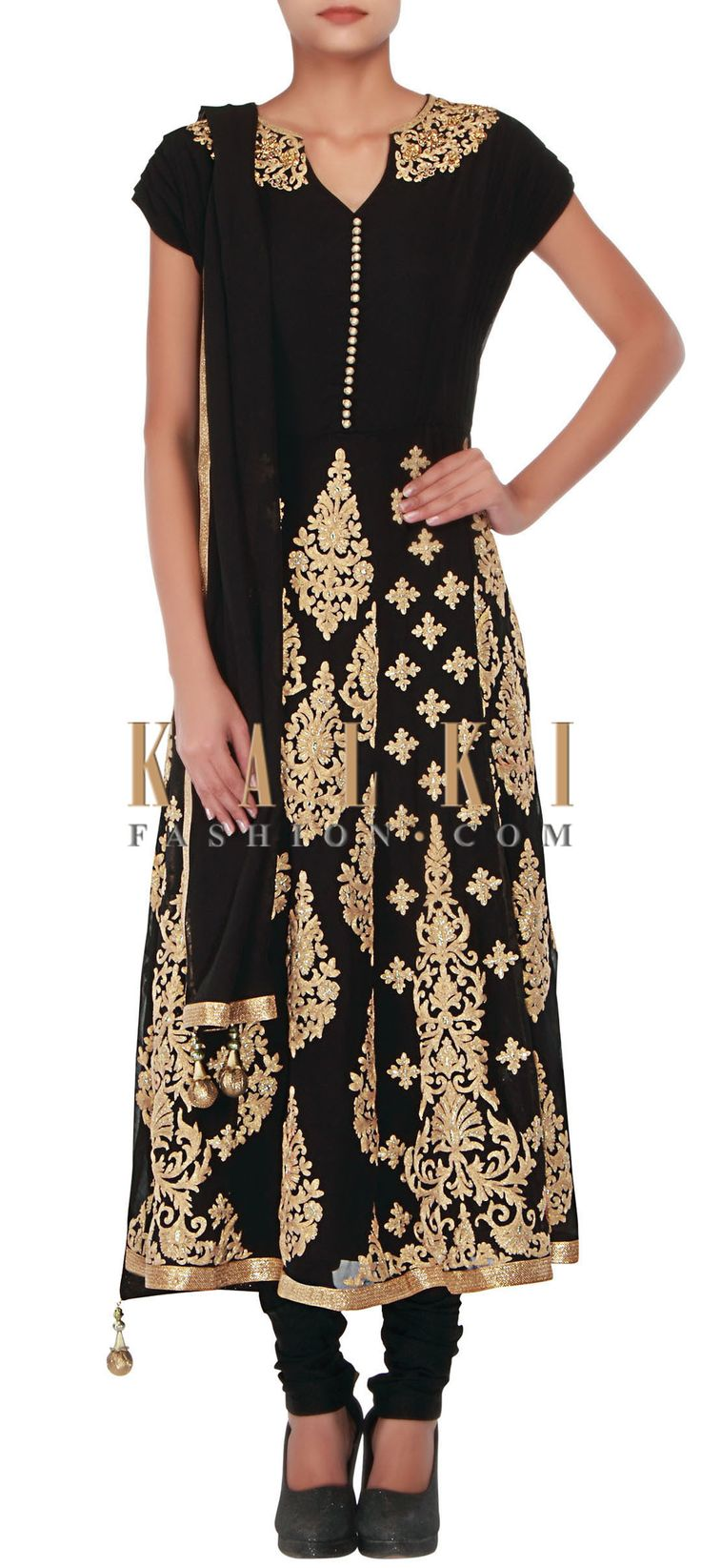 Buy Online from the link below. We ship worldwide (Free Shipping over US$100) http://www.kalkifashion.com/black-anarkali-embellished-in-zari-embroidery-only-on-kalki-16083.html