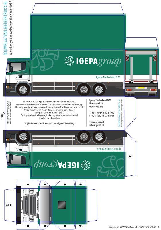 Paper Truck and Trailer | Scania snoep doosje | bouwplaatvanjeeigentruck.nl