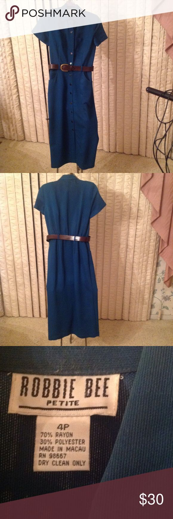 ROBBIE BEE Dress Teal with brown croc belt....Button front...Patch breast pockets...waist pockets Robbie Bee Dresses Midi