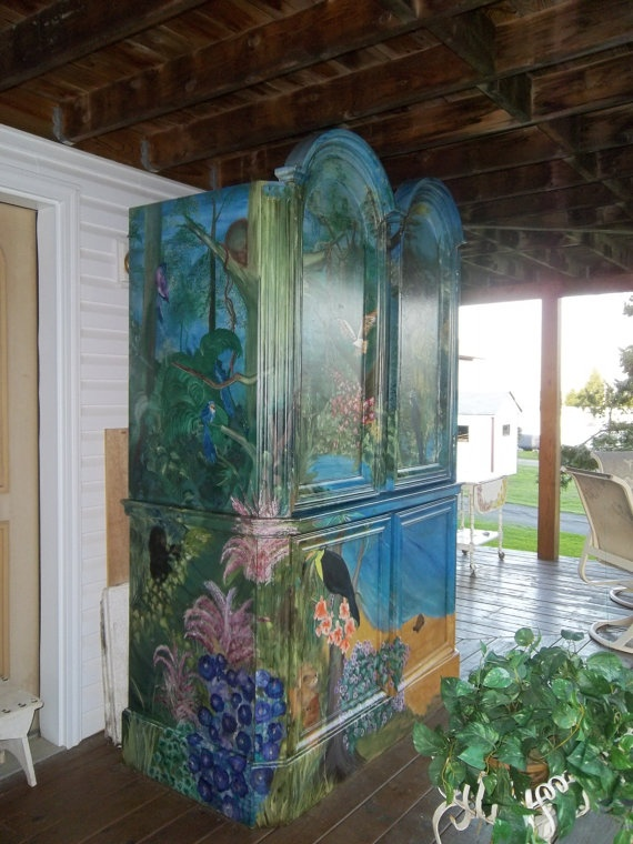 Tropical Handpainted Storage Cabinet SALE. $1,000.00, via Etsy.