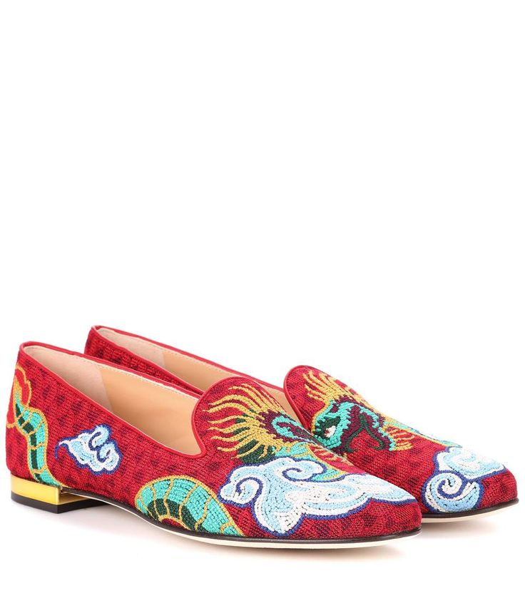 Animaux Royaume Pantoufles Brodées Charlotte Olympia