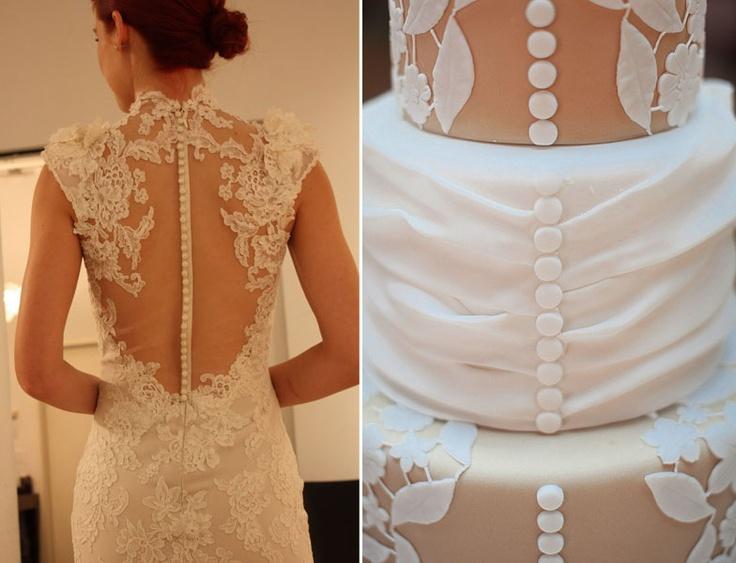 Un gâteau de mariage inspiré de votre robe de mariée